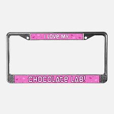 Pink Polka Dot Chocolate Lab License Plate Frame