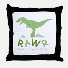Dinosaur Rawr Throw Pillow