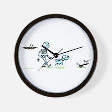 skeleton walking with pets Wall Clock