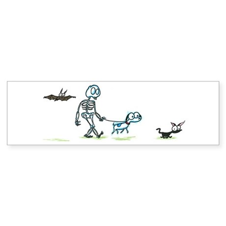 skeleton walking with pets Bumper Sticker