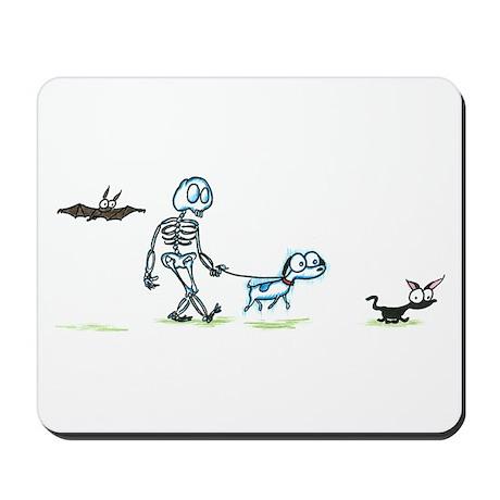skeleton walking with pets Mousepad