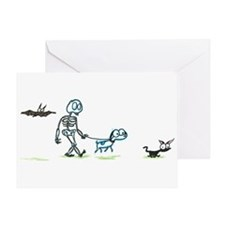 skeleton with pets Greeting Card