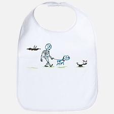 skeleton walking with pets Bib