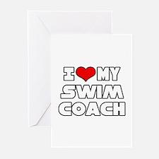 """I Love My Swim Coach"" Greeting Cards"