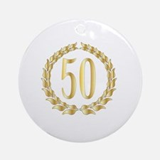 Cute Golden anniversary Round Ornament