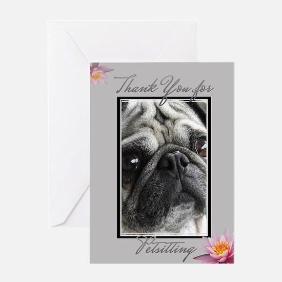 Thank You Petsitter Pug Dog Greeting Cards