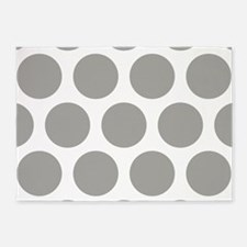 Grey, Fog: Polka Dots Pattern (Larg 5'x7'Area Rug