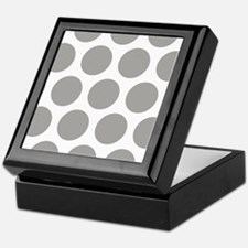 Grey, Fog: Polka Dots Pattern (Large) Keepsake Box