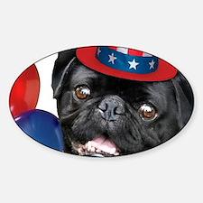 Pug Dog 4th of July Decal