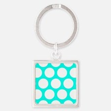 Blue, Turquoise: Polka Dots Patter Square Keychain