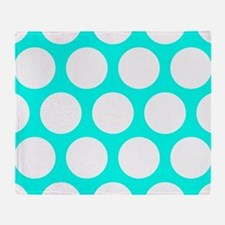 Large Polka Dots: Turquoise Blue Throw Blanket
