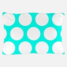 Blue, Turquoise: Polka Dots Pattern (L Pillow Case