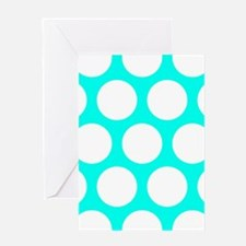 Blue, Turquoise: Polka Dots Pattern Greeting Card