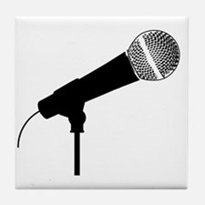 Funny Comedian microphone Tile Coaster