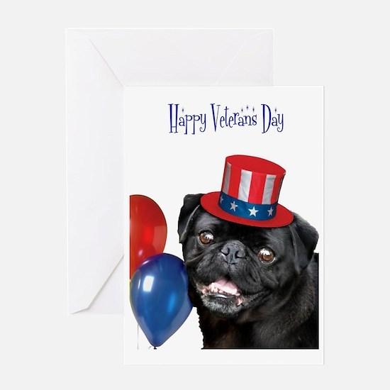 Happy Veteran's Day Pug Dog Greeting Cards