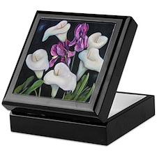 Purple Iris and Calla Lilies on Keepsake Box
