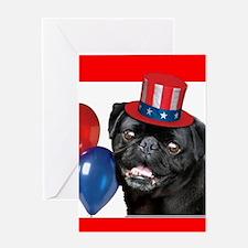 Patriotic pug dog Greeting Cards