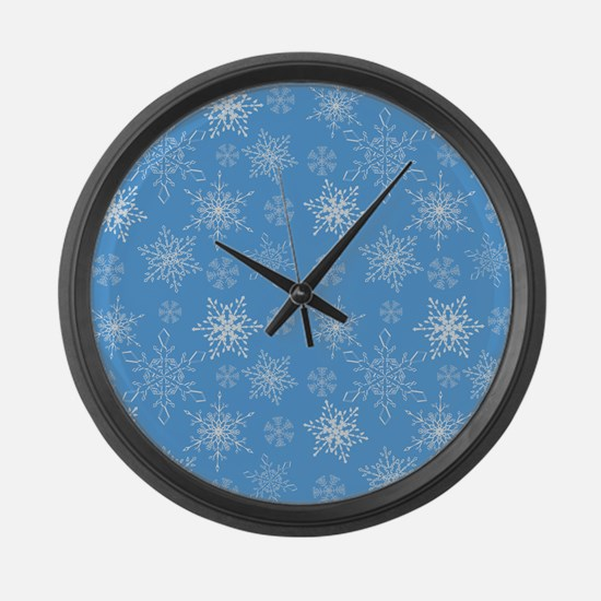 Glittery Snowflakes over Blue Bac Large Wall Clock