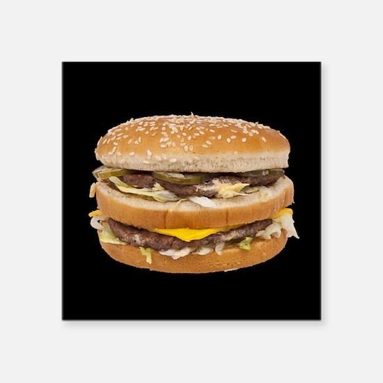 """Double Cheeseburger Square Sticker 3"""" x 3"""""""