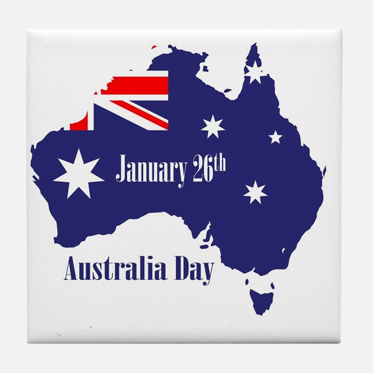 Cute Australia day Tile Coaster