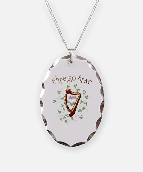 Unique Harp Necklace Oval Charm