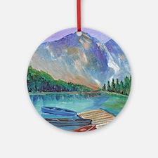 Lake Boat Round Ornament