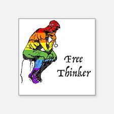"Cute Free thinking Square Sticker 3"" x 3"""