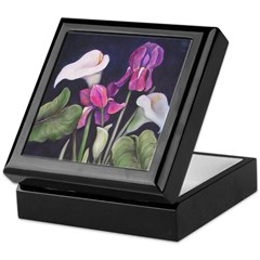 Calla Lilies and purple Iris Keepsake Box