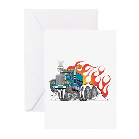 Hot Rod (Flames) 18 Wheeler Truck Greeting Cards (