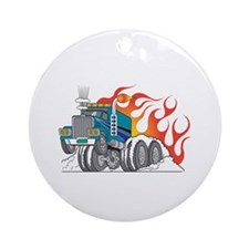 Hot Rod (Flames) 18 Wheeler Truck Ornament (Round)