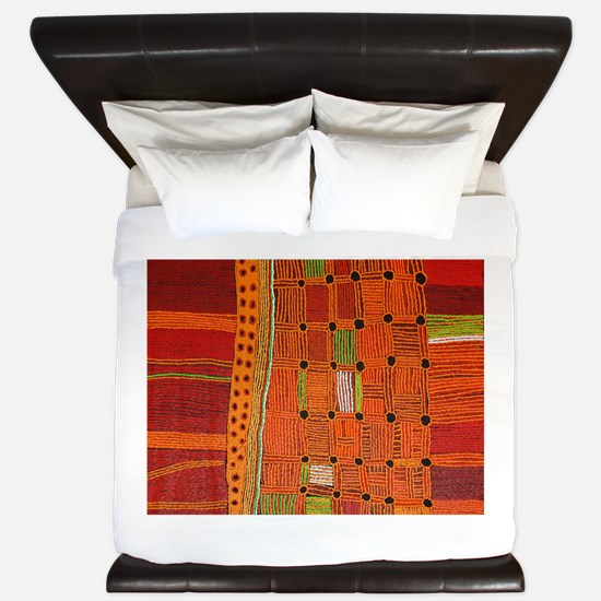 Australian Aboriginal Art in Orange Red King Duvet