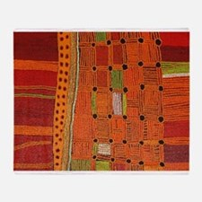 Australian Aboriginal Art in Orange Red Throw Blan