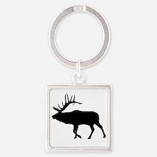 Bull Elk Silhouette Square Keychain