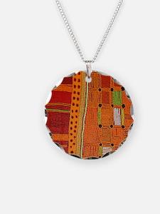 Australian Aboriginal Art in Orange Red Necklace