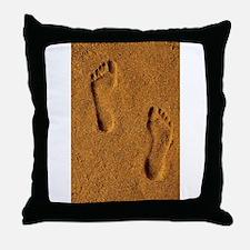 sand footprints, Throw Pillow