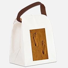 sand footprints, Canvas Lunch Bag