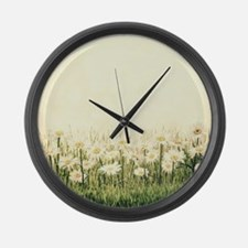 Rustic Daisies Large Wall Clock