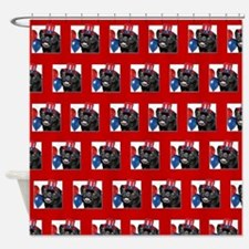 Patriotic pug dog Shower Curtain