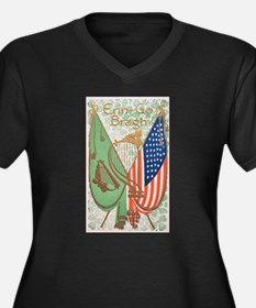 Irish American Flags Erin Go Bra Plus Size T-Shirt