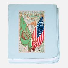 Irish American Flags Erin Go Bragh baby blanket