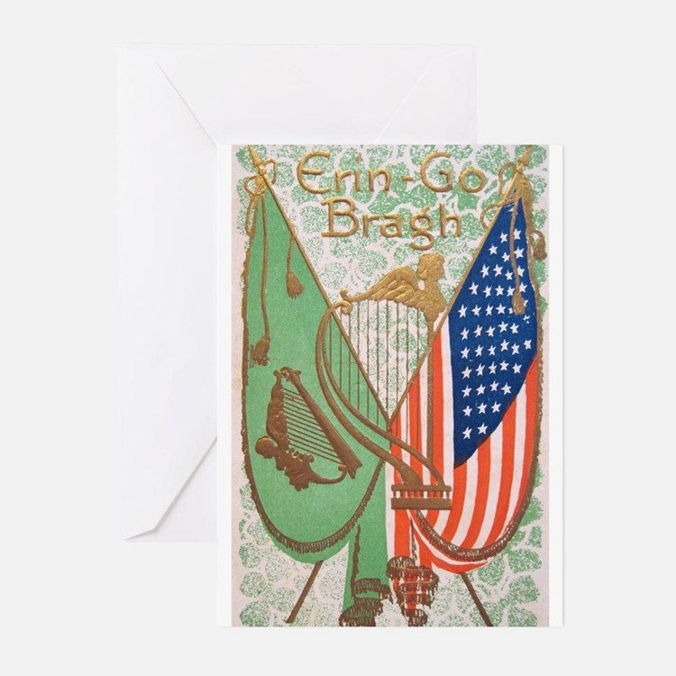 Irish American Flags Erin Go Bragh Greeting Cards