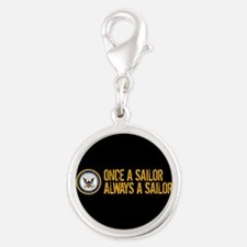 U.S. Navy: Once a Sailor, Alwa Silver Round Charm