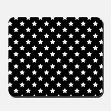 Black and White Stars Pattern Mousepad