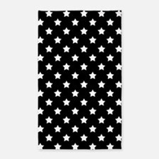 Black and White Stars Pattern Area Rug