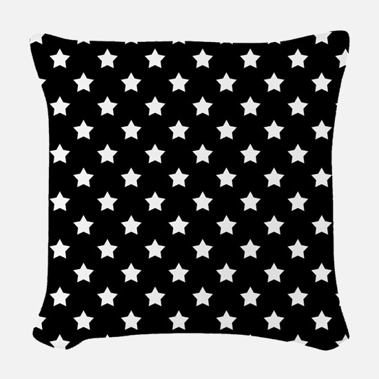 Black and White Stars Pattern Woven Throw Pillow