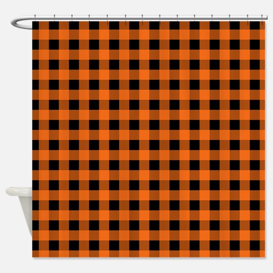 Cute Orange and black Shower Curtain And Black Curtains  CafePress
