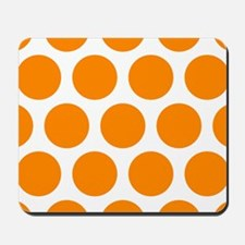 Orange: Polka Dots Pattern (Large) Mousepad