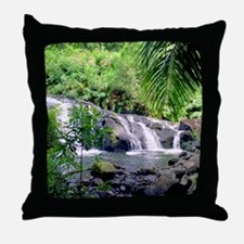 Hahalawe Falls Maui Throw Pillow