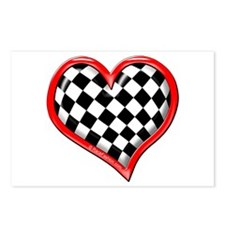 Checkered Heart Red Postcards (Package of 8)