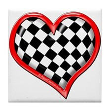 Checkered Heart Red Tile Coaster